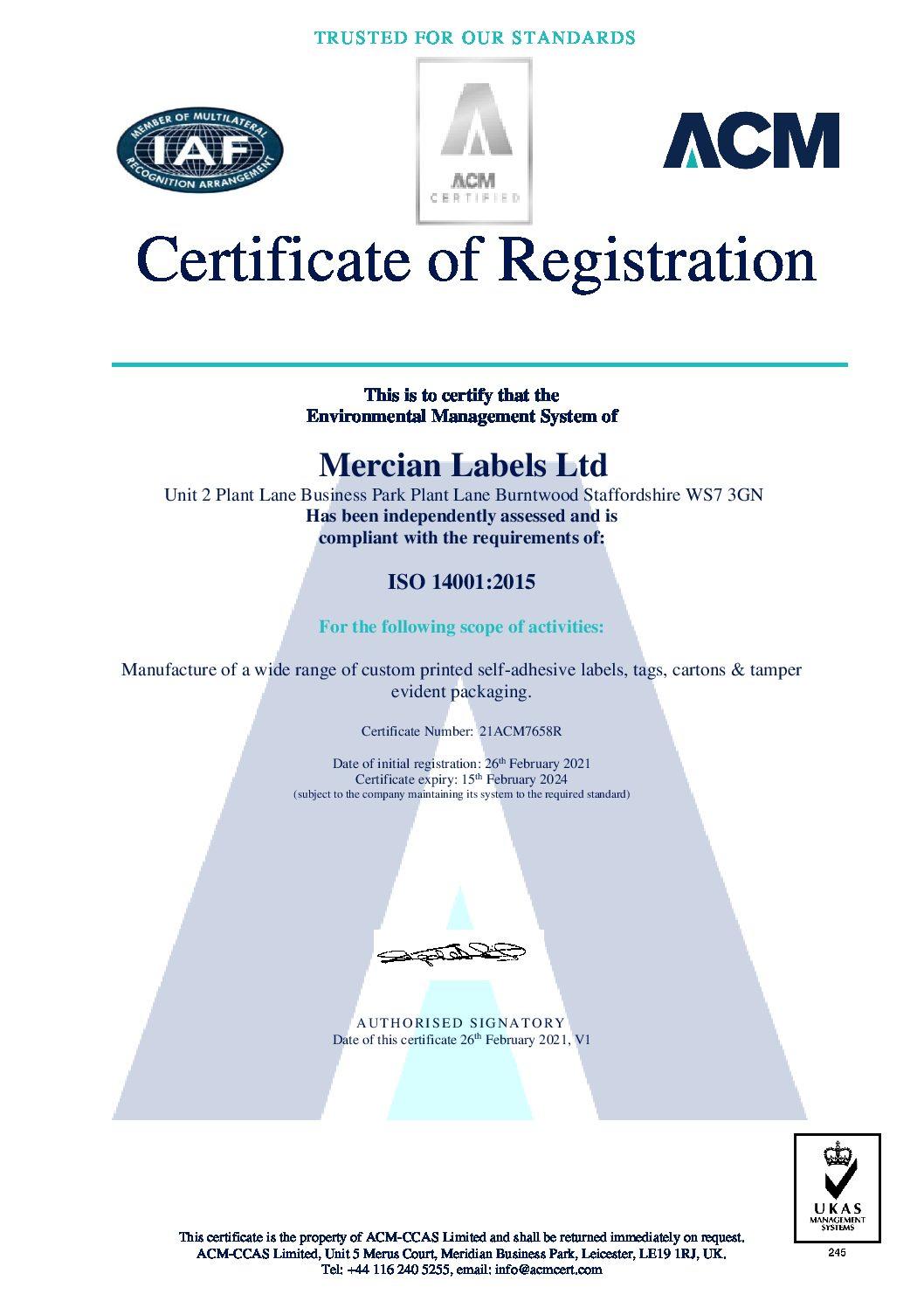 Mercian Labels Ltd 21ACM7658R V1 certificate pdf