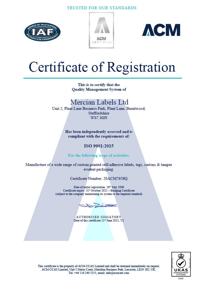 ISO 9001 2015 Bridge Cert Oct 21